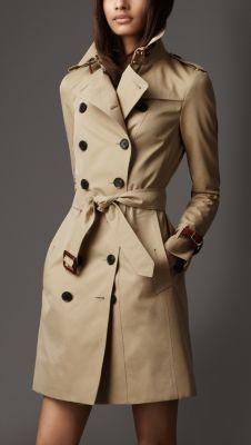 Long Leather Detail Gabardine Trench Coat