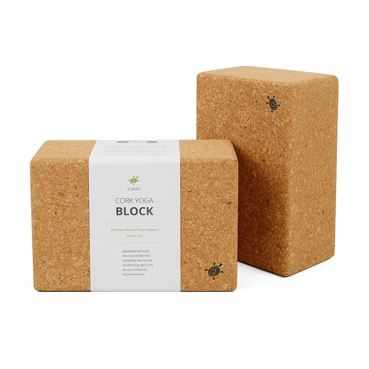 "FREE SHIPPING on ORDERS OVER $50 Set of Two Cork Yoga Blocks Size: 6"" x 9"" x 4"" Each Premium Natural Yoga Support A yoga block is an essential piece of yoga equipment that provides support and assista"