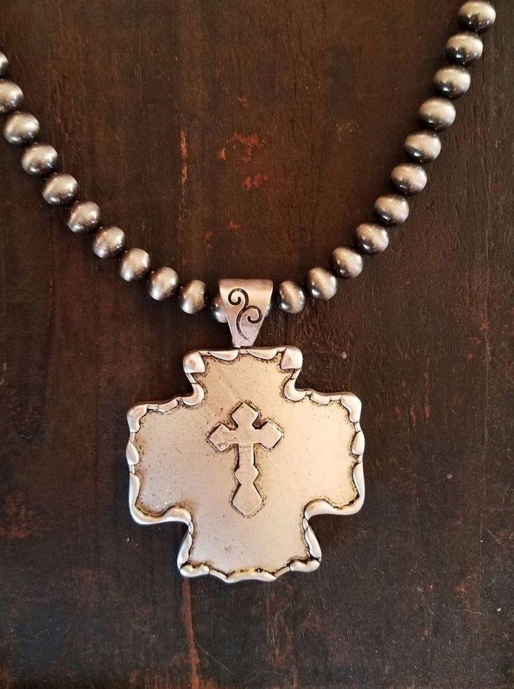 COWGIRL Bling CROSS Pewter surge plate beads Southwestern NECKLACE  #baharanch #necklace