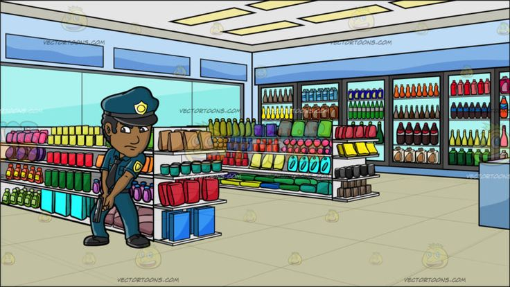 A Police Officer In An Operation To Look For The Suspect At Inside A Convenience Store:  A man with brown skin black curly hair wearing a dark teal police officer uniform cap with black brim and gold badge black necktie and shoes looks serious and focused while holding down his dark gray gun as he hunts for a suspect. Set in interior of a convenience store with aisles and section for food beverages and random products for sale surrounded by glass windows and panel lights.  #police #clipart…