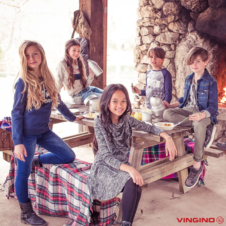 From left to right:  Girls Jeans Bologna // Sweater Nicoletta - Girls Jeans Christina // Sweater Nimke - Girls Dress Patriz // Scarf Vibe - Boys Top Juro // Pants Stefo - Boys top Juren // Shirt Lennard