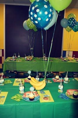 Banana Centerpieces at a Monkey-Themed Birthday Party.
