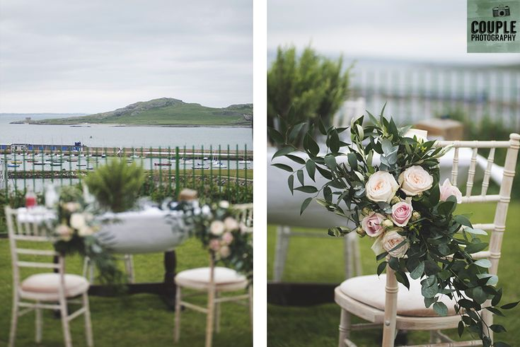 The wedding ceremony set up with a view over the bay. Wedding in The Abbey Tavern, Howth. Photographed by Couple Photography.