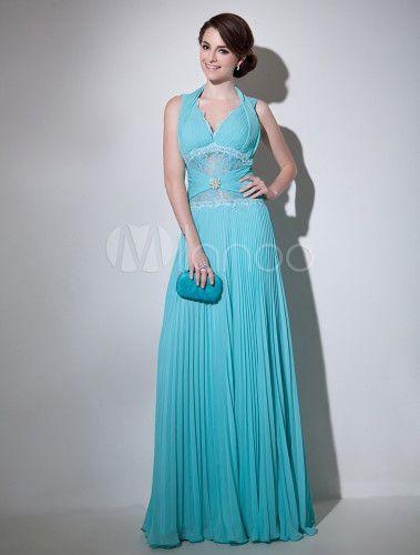 Robe de soirée belle bleue A-ligne avec col V et strass - Milanoo.com