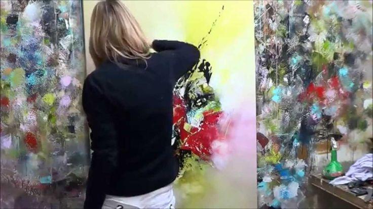 D monstration de peinture abstraite 3 elisabeth toile for Toile abstraite