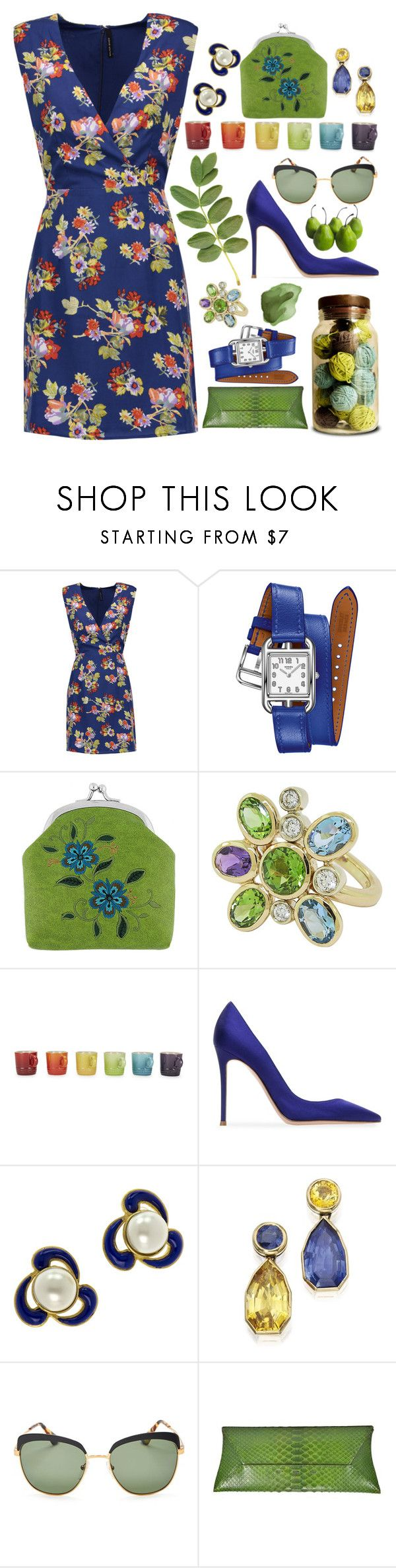 """""""Colorful"""" by sunnydays4everkh ❤ liked on Polyvore featuring W118 by Walter Baker, Hermès, Lavishy, Le Creuset, Gianvito Rossi, Chanel, Prada and VBH"""