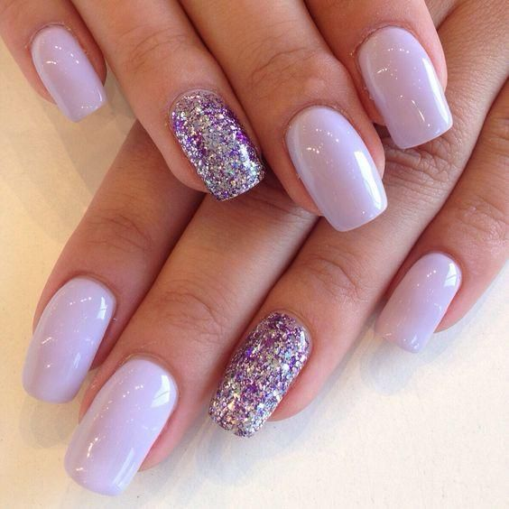 Lavender Nails!!! Lavender Purple Glitter. Summer Nail Art Designs 2017