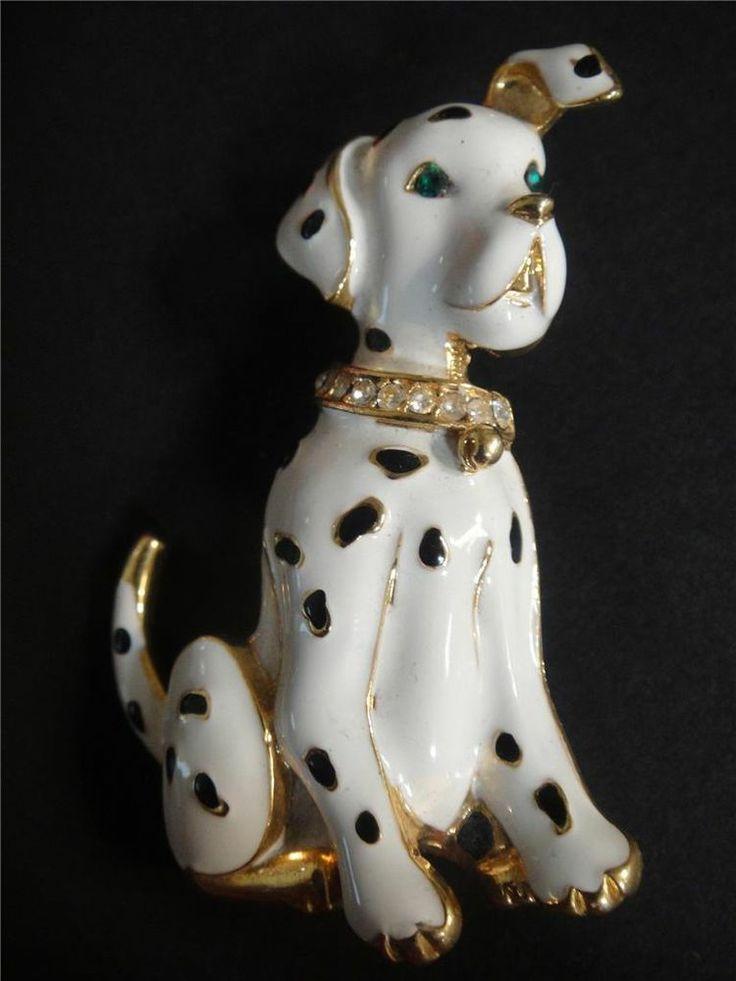#DALMATIAN #brooch #BADGE enamel diamante collar #DOG pin 101 Dalmatians Avalaya 5cm Expires 07 May, 2014