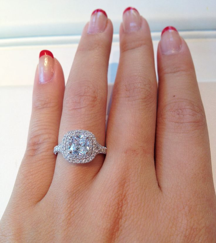 The most perfect ring, Jeff Cooper Double Halo Cushion Cut Diamond Engagement Ring❤ $4,160