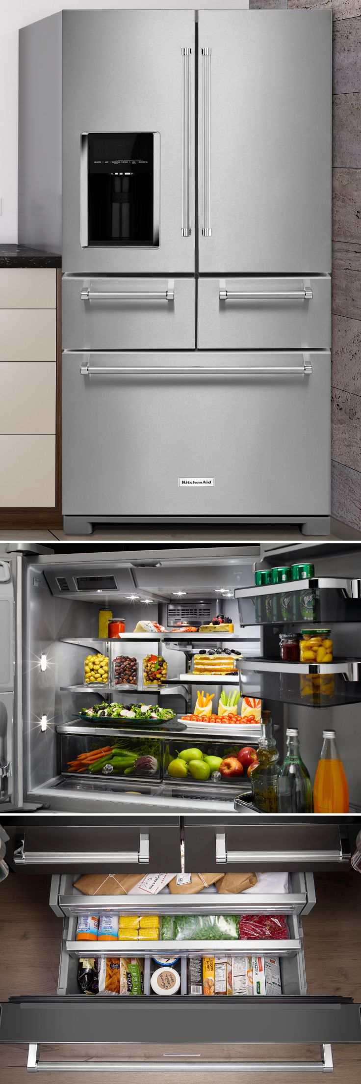 When it comes to fridge organization, it doesn't get much better than the KitchenAid Multi-Door Refrigerator. You'll love the sleek design, fresh technology, and adjustable shelving that will keep your kitchen well-stocked. Get this premium fridge for less at Sears Outlet! #fridgegoals