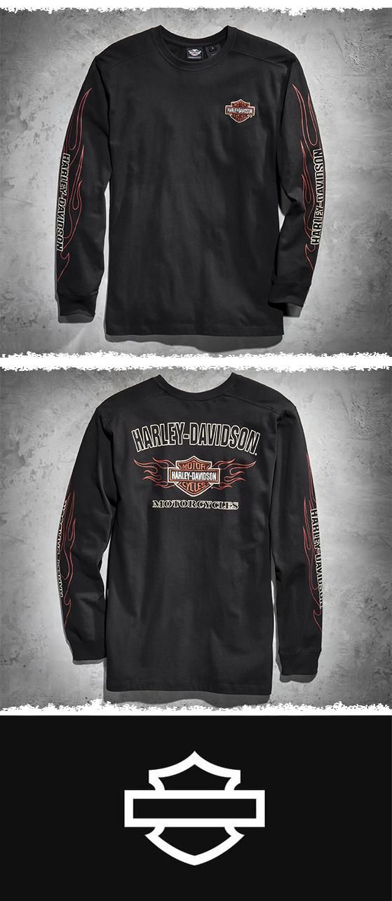 Perfect for those cool rides in the spring and fall. | Harley-Davidson Men's Flames Long-Sleeve Tee