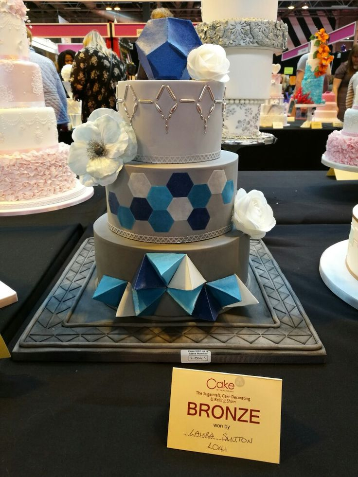 Geometric cake with wafer paper origami, beading and wafer paper flowers