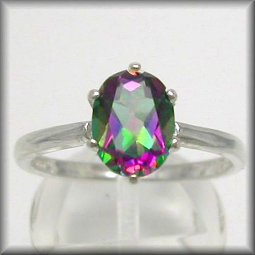 Mystic Topaz Ring, Mystic Fire Topaz Ring (Mystic Green Rainbow Topaz 2ct Low Set SS Ring Sz 2-16) Caribbean Topaz, Mystic Topaz Jewelry