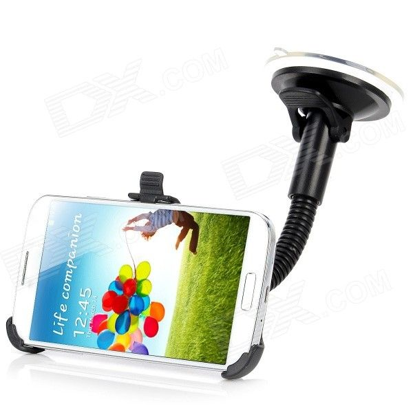 Car 360 Degrees Adjustable Metal Holder Stand w/ Suction Cup for Samsung Galaxy S4 i9500 - Black - Free Shipping - DealExtreme