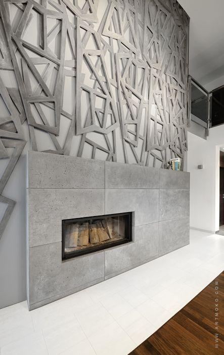 projekt nowoczesnego kominka w formie rzeźby w salonie