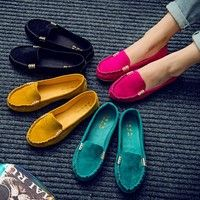 Wish | New Women's Ballet Flats Shoes Fashion Cute Slip On Low Heel Ladies Boat Shoes