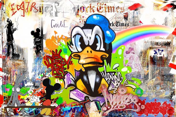Nelson Fabiano - The Determined Donald (150×100 cm). More works by in the #Disney series  : http://ow.ly/U7zQD  #streetart #nyc
