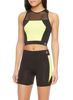 Activewear Colorblock Crop Top with Mesh YokeActivewear Colorblock Crop Top with Mesh Yoke,YELLOW