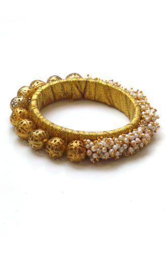 Gold Pearl & Ball Bangle / Bracelet | eBay