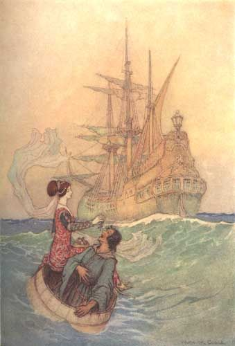 Vastolla and Peruonto approaching the Ship by Warwick Goble