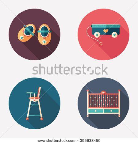 Happy childhood flat round icon set. #homeinterior #homefurniture #flaticons #vectoricons #flatdesign