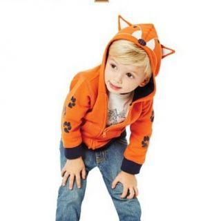 子供のための3Dオレンジ色のキツネのパーカーは、コートをジップ