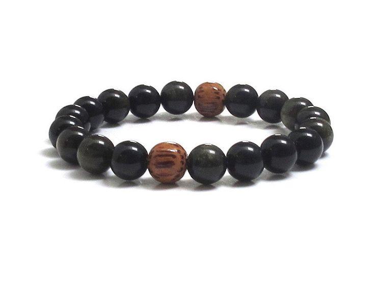 Obsidian Mala Bracelet with Coconut Palm Wood Beads