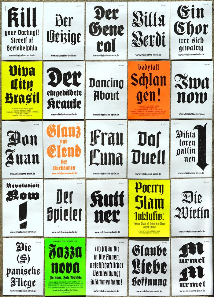 """Volksbühne Flyers. Flyers for the """"people's theatre"""" of Berlin, Germany."""
