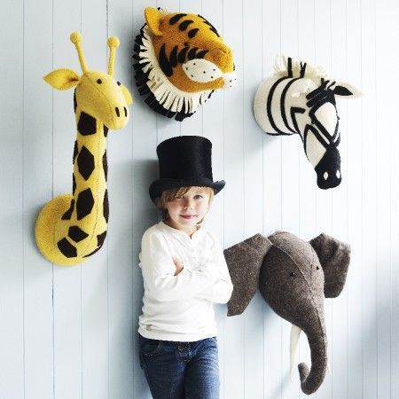 We LOVE these felt animal heads, perfect for a child's room. Make them yourself using wool felt in their favorite animals or imaginary creatures -- could be fun designing your own!   Find our lovely wool felt from Holland here: etsy.com/shop/StitchesandCrafts