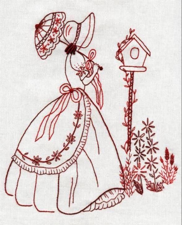 redwork vintage woman