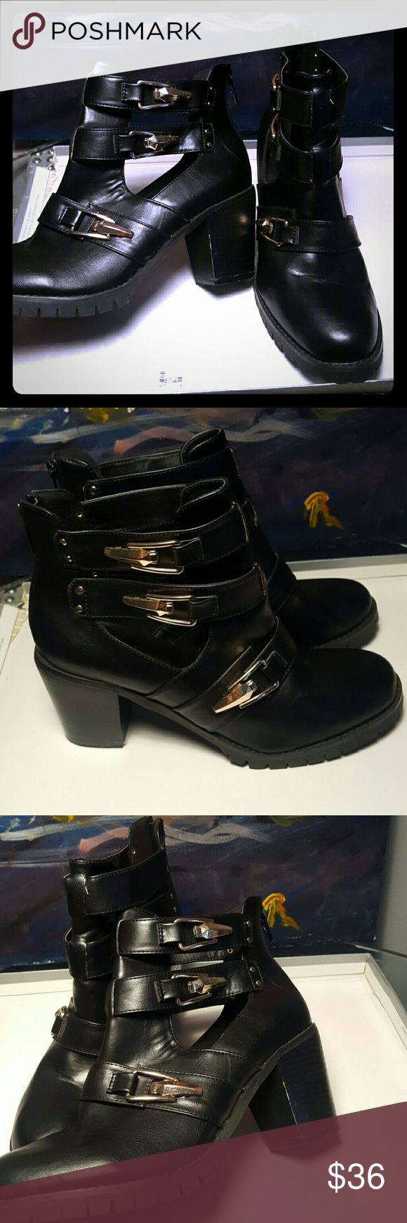 Black moto boot with gold buckles never worn sz 10 Never worn moto boot with ankle cut out and gold buckles sz 10 Wanted Shoes Combat & Moto Boots