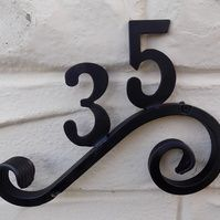 House Number Plaque...........Wrought Iron (Forged Steel) Custom Made