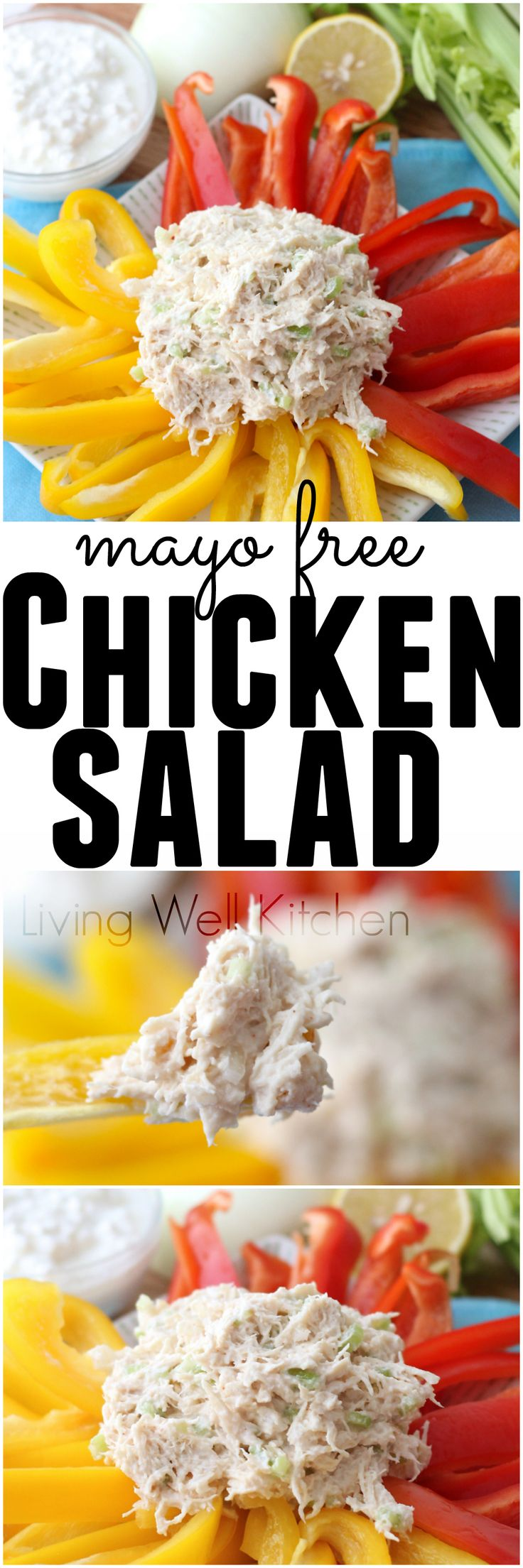 Lightly seasoned and packed with lean protein, this is chicken salad perfection that you can feel good about eating. Mayo free Chicken Salad recipe from @memeinge || http://memeinge.com/blog/chicken-salad/