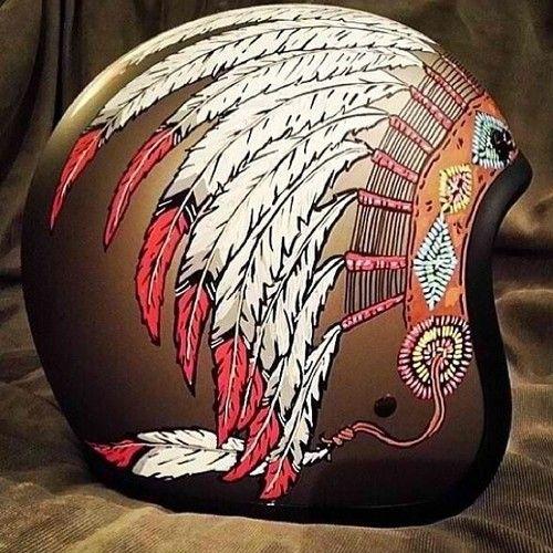 Headress Helmet by @cafescrambler. Follow him on instagram for some cool cafe racer stuff and custom helmets.