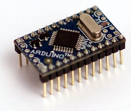 The Arduino Mini is a small microcontroller board based on the ATmega328. Intended for use on breadboards and when space is at a premium. It has 14 digital input/output pins (of which 6 can be used as PWM outputs), 8 analog inputs, and a 16 MHz crystal oscillator. It can be programmed with the Mini USB adapter or other USB or RS232 to TTL serial adapter. via Arduino