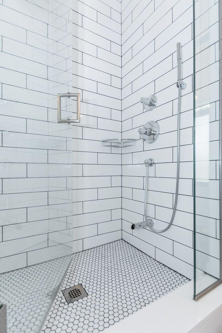 Classic white subway tiled shower with Soho 4×16 g…