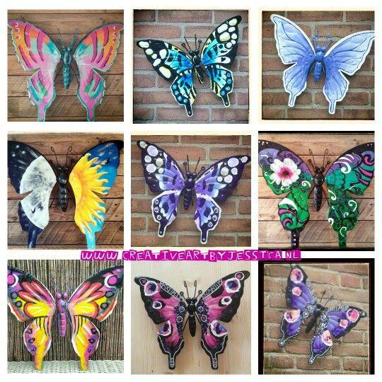 Vlinders tuindecoratie 50x55cm Weerbestendig Metaal Handgeschilderd Glanzend  Www.creativeartbyjessica.nl