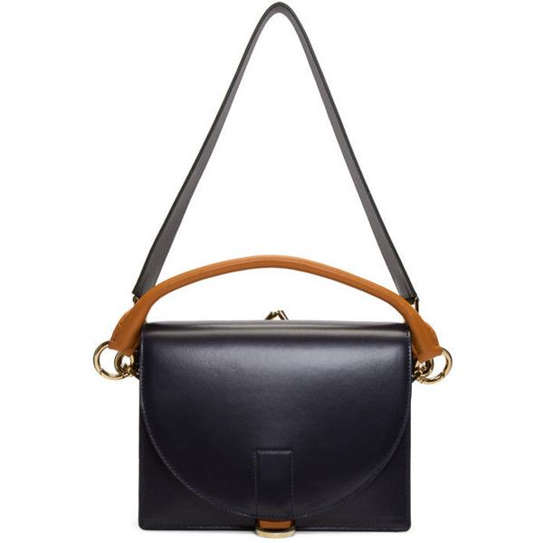 Sacai Navy Top Flap Bag ($1,700) ❤ liked on Polyvore featuring bags, handbags, shoulder bags, navy, navy shoulder bag, leather handbags, navy blue leather purse, white leather purse and navy blue leather shoulder bag