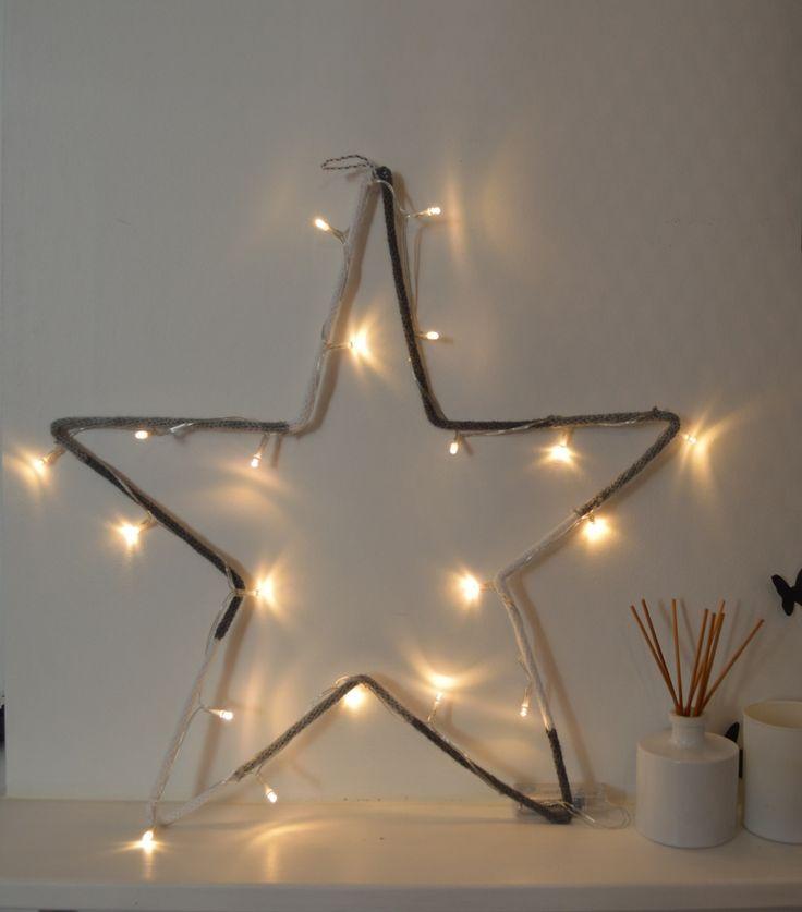 Veilleuse étoile en laine blanc / gris - guirlande lumineuse : Décoration pour enfants par lapetitelilloise