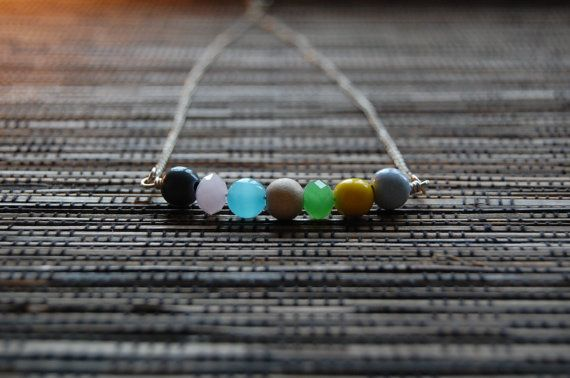 Sterling silver necklace with glass and wooden beads by AasJewelry
