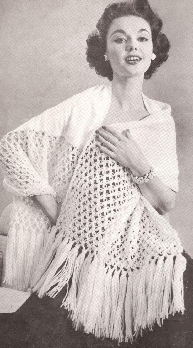 172 best images about vintage knitted shawls and scarves. Black Bedroom Furniture Sets. Home Design Ideas