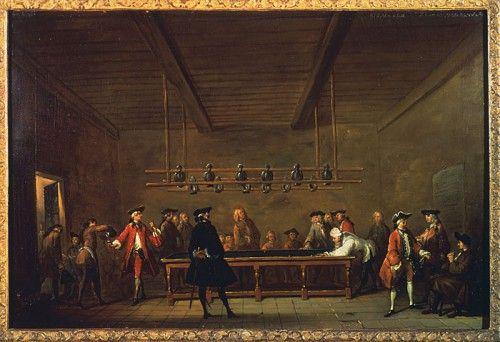 « La partie de billard », vers 1725, par Jean-Baptiste Siméon Chardin  /  La première pièce de théâtre fut présentée en Acadie le 14 novembre 1606. Les spectacles de danse, les tours de chants et les concerts, improvisés ou organisés, suscitaient également un franc engouement parmi la population.