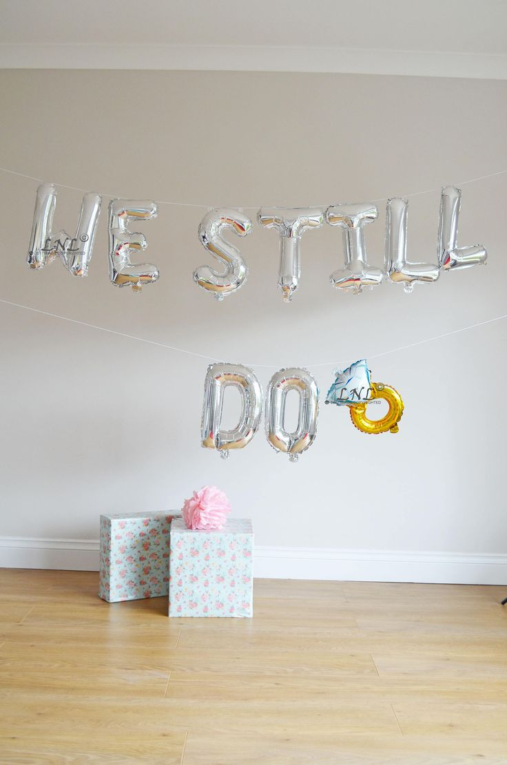 We Still Do balloons - gold silver Mylar foil letter balloon banner, gold balloons, wedding, hen party balloons, bride to be, engaged by OutOfMyBubble on Etsy