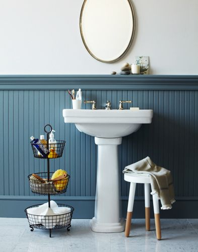 great little bathroom. blue chair rail is beautiful and adds color without overwhelming a small room. Plus, hides scuff marks