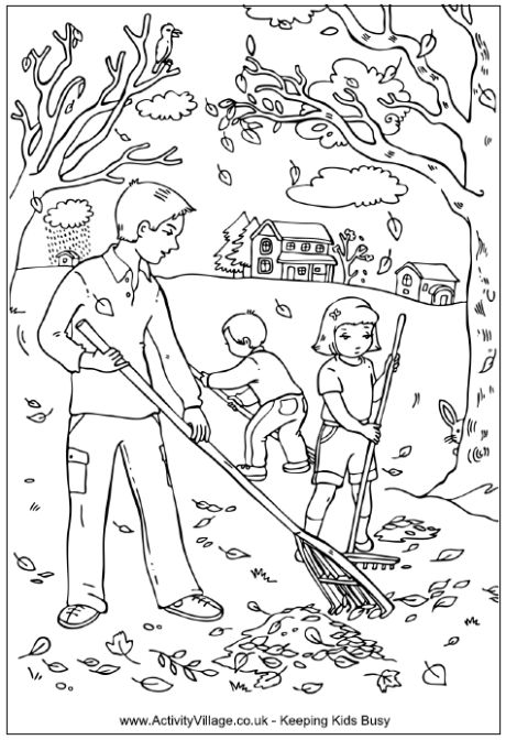 Raking leaves coloring page, Dad and children raking leaves in autumn scene