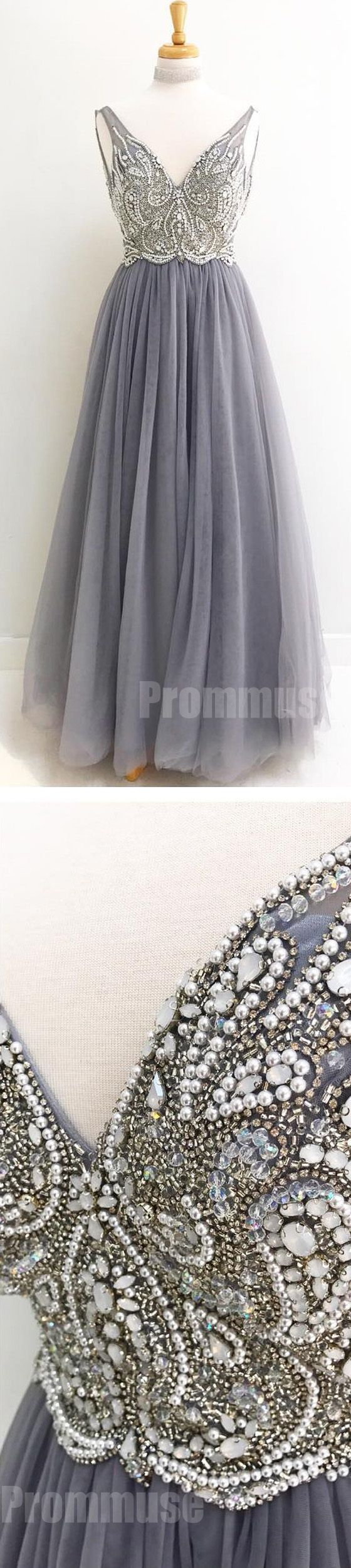 Charming V Neck Beaded Tulle Inexpensive Long Prom Dresses, PM0791 #promdress