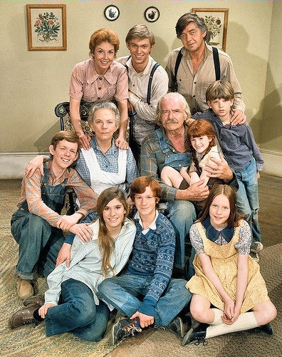 """Cast of """"The Waltons"""" TV show.  Beginning in September 1972, The Waltons originally aired on CBS for a total of nine seasons. After the series was canceled in 1981, three television movie sequels followed in 1982, with three more in the 1990's."""