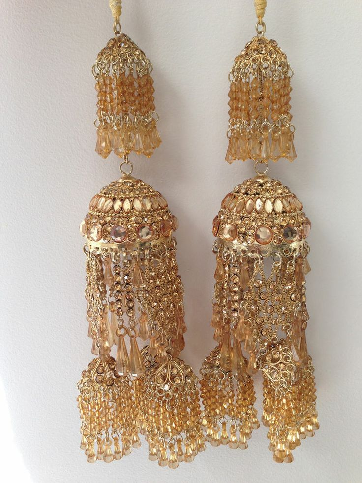 Amazing Indian Asian Wedding Bridal Kaleera Kalira - Light Gold with Diamonds