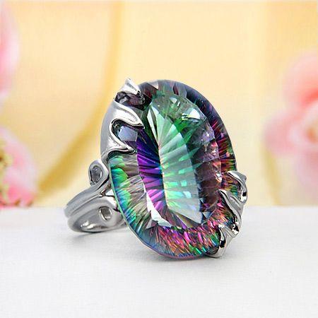 Sterling Silver Rainbow Mystic Topaz Ring