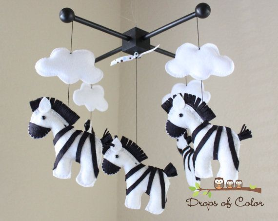 Baby Mobile - Baby Crib Mobile - Nursery Zebra Decor - Zebras Mobile - Safari Nursery - Kids Room